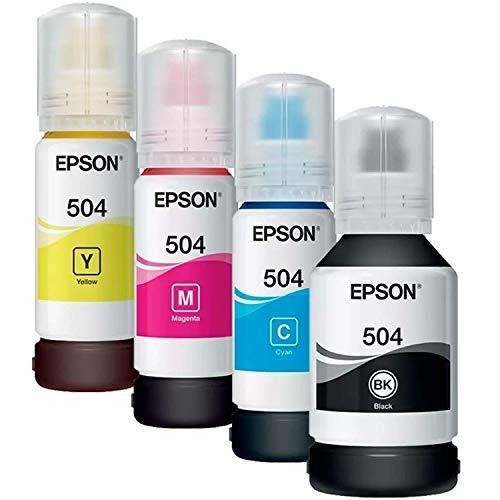 Epson 4 Pack Cartuchos Tinta T504 Color Cyan, Amarillo, Magenta, Negro - Compatible con L4150, L4160, L6161, L6171, L6191 504