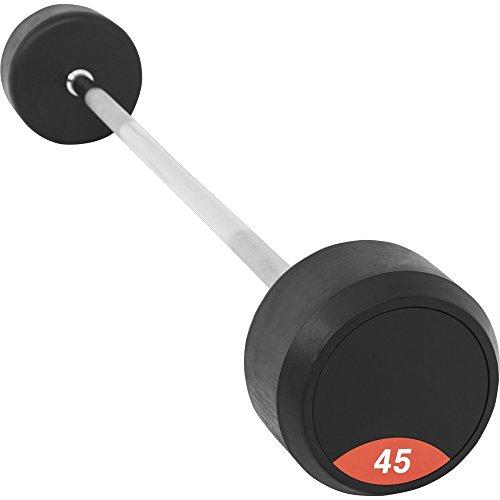 GORILLA SPORTS® Rubber Barbells Gummi 10-50 kg – Kompakt-Langhantel mit Vollgummi 45 kg