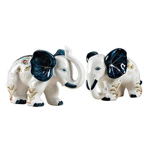 WPXBF Escultura 2 Unids/Set Elefante Artes Escultura Animales Afortunados Estatuilla Cerámica Artesanía Decoraciones para El Regalo del Hogar