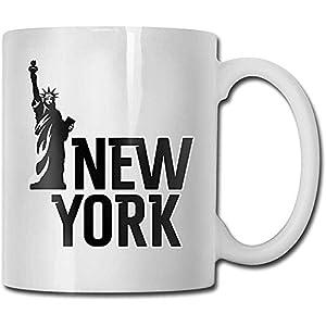 New York Statue Of Ceramic Mug Cup Funny Tazas de café Taza de cerámica de viaje Taza de té 330ml (Blanco)