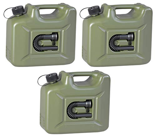 3er Set Hünersdorff Benzinkanister 10 Liter Kraftstoff Kanister olivgrün 10L UN-Zulassung Diesel