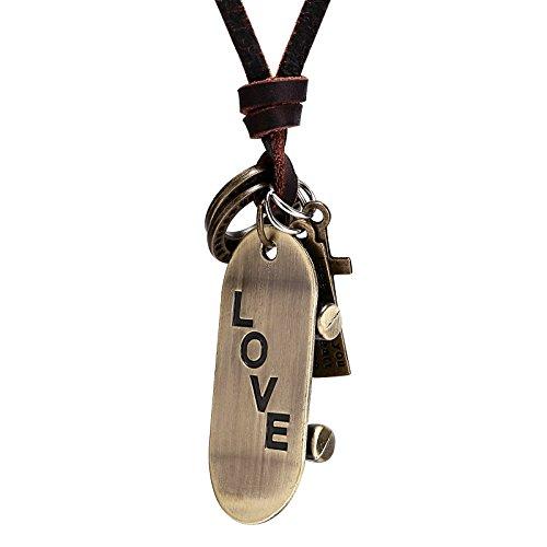 AnaZoz Collar Hombre Collar Acero Inoxidable Hombre Collar Colgante Patineta Love Collar Para Hombre Collar Oro