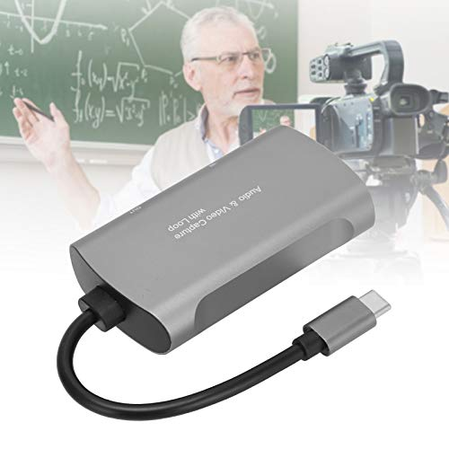 BOLORAMO Tarjeta de Captura Type-C, Tarjeta de Captura de Gran compatibilidad Cables Awg26 portátiles ultradelgados con Baja latencia para grabación de Juegos para grabación de conferencias