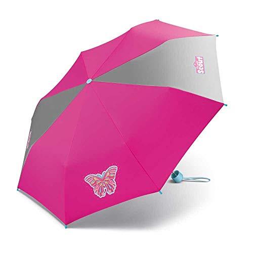 Scout Kinder Regenschirm Taschenschirm Schultaschenschirm mit großen Reflektionsflächen extra leicht Butterfly Schmetterling
