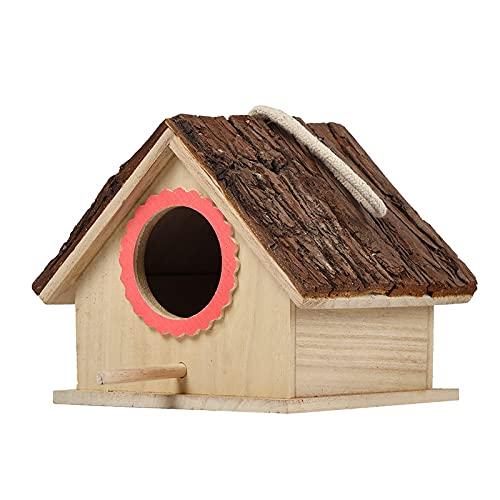 DDSFDS Hölzernes Vogelhaus Für Hängendes Vogelhaus Im Freien, Naturrinde Vogel Nistkasten, Außengarten Vogel Ruheplatz Für Taube Finch Wren Robin Sparrow Kolibri