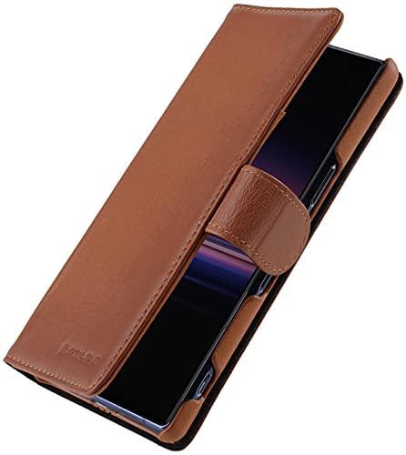 StilGut Talis kompatibel mit Sony Xperia 5 II Hülle mit Kartenfach aus Leder, Wallet Hülle, Lederhülle mit Fächern und Verschluss - Cognac Antik