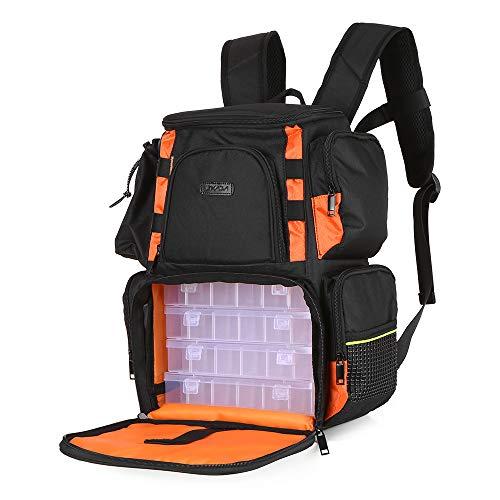 Lixada Fishing Tackle Bag Backpack Fishing Lures Bait Box Storage Bag with 4 Fishing Tackle Boxes
