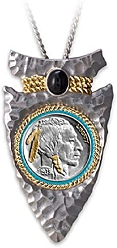 Collar Colgante Jefe Indio En Honor Al Collar De La Moneda De La Aleación Del Oeste Americano, Collar De Toro Vikingo Con Piedras Preciosas Negras, Regalo De Joyería La Vendimia Para Hombres Mujeres