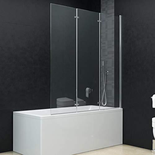 Festnight Frameless Bathtub Shower Screen Bathtub Shower Doors Folding Shower Enclosure Shower Door Home Cabin Screen Cubicle Panels Walls Bath Attachment Bothroom Foldable 3 Panels ESG 51.2'x54.3'
