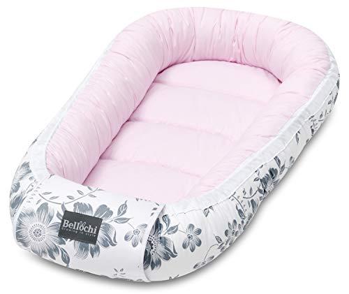 Bellochi Babynest Babynestchen Neugeborene - 100% Baumwolle - ÖKO-TEX zertifiziert - Baby Kuschelnest - 90x60x12cm - Pink Berry