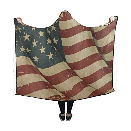 Yushg Mit Kapuze Decke USA alte Papierdecke 60 x 50 Zoll Comfotable Hooded Throw Wrap