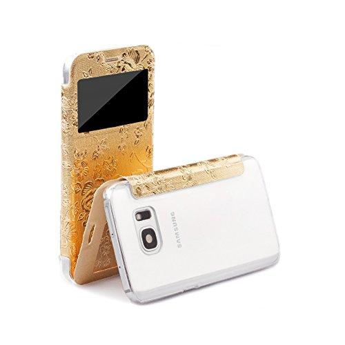 iCues Custodia Compatibile con Samsung Galaxy S7   Poblano Bag Bouquet Oro   Finestra più Luce Foglio di Protezione Trasparente in Pelle - Libro incernierato Borsa Donne Cassa Cover Case Tasca Borsa