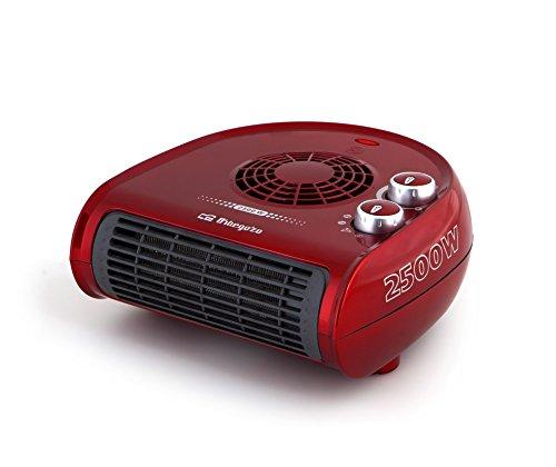 Orbegozo FH 5033 - Calefactor, termostato regulable, 2 niveles de potencia, función ventilador aire frío, calor instantáneo, indicador luminoso, asa de transporte, 2500 W, rojo