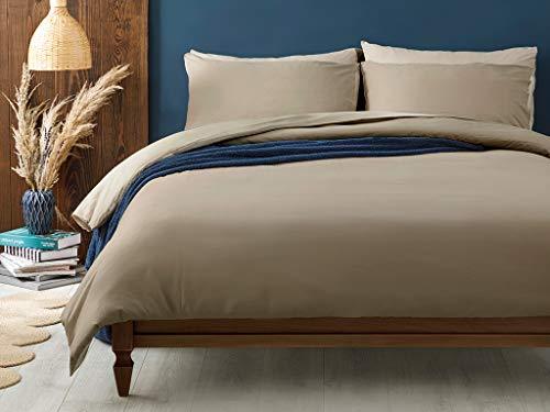 English Home Juego de funda nórdica individual de algodón liso 160x220 cm Caqui-Beige