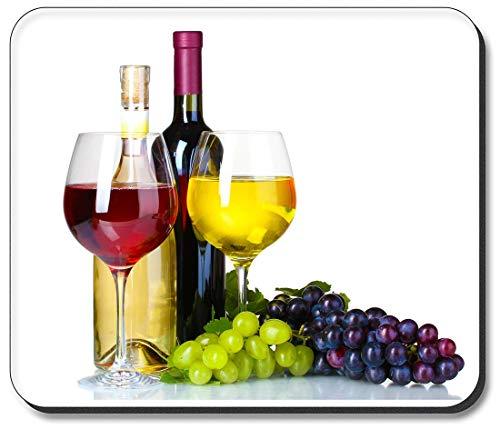 Art Plates Mauspad Rot- und Weißwein auf weißem Hintergrund