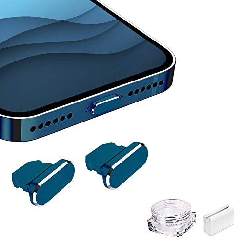 VIWIEU Metal Anti Dust Plug for iPhone 12 Mini Pro Max 11 iPad AirPods, 2 Aluminum Lightning Charging Port Cover Compatible with iPhone X, XS, XR, 8, 7, 6 Plus with Plug holder and Box (Pacific Blue)