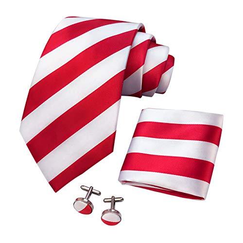CANGRON hombres blancos rojos lazo de las rayas corbata Conjunto con Pocket ajustan las mancuernas + Caja de regalo ELST8DH