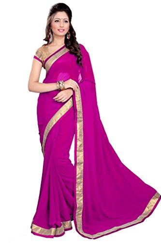 Mirchi Fashion Lace Work Black Faux Georgette Sari für Frauen (auch) Gr. One size, magenta