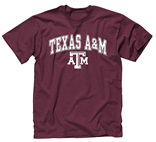 Campus Colors NCAA Adult Arch & Logo Soft Style Gameday T-Shirt (Texas A&M Aggies - Maroon, XX-Large)