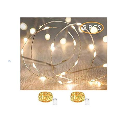 Led String Lights Waterproof – Xinkaite 9.8ft led Fairy Lights Battery Operated for Wedding, Home, Garden, Party, Christmas Decoration , Warm White (2pcs)