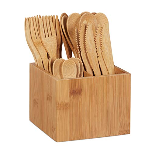 Relaxdays 10024596 Bambus Besteck Set, je 10 x Messer, Gabel, Löffel & Teelöffel, Besteckhalter, wiederverwendbar, 41-TLG, Natur