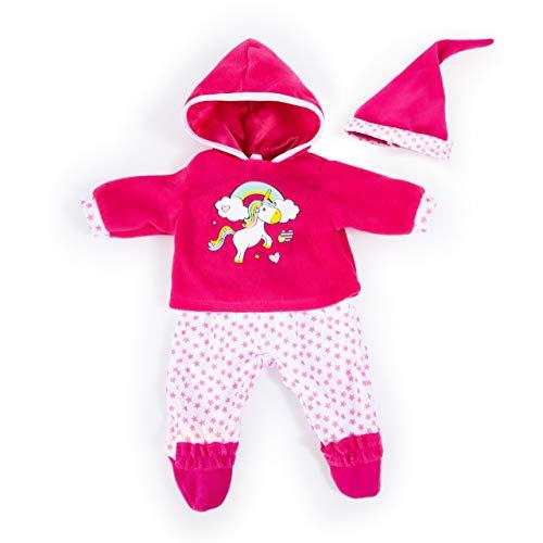 Bayer Design 84690AA Puppenkleidung für 40-46cm Puppen, Hose, Oberteil und Mütze, Set, Outfit mit Einhorn und Regenbogen, pink