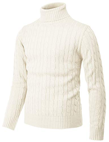 H2H Mens Casual Slim Fit Pullover Sweaters Knitted Henley Long Sleeve Thermal Ivory US L/Asia XL (CMOSWL045)