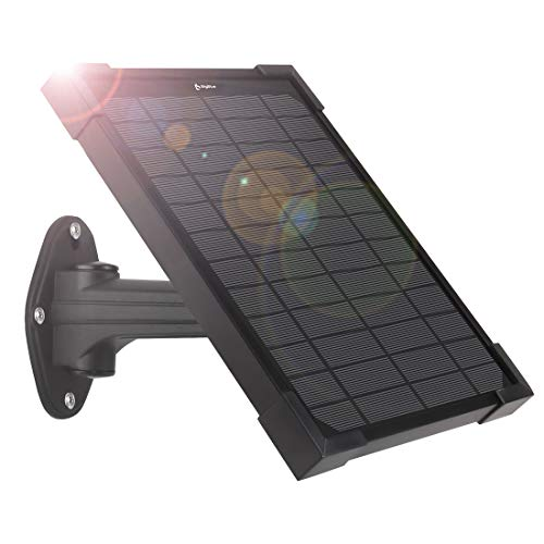 BigBlue 5W Solar Panel Compatible with Ring Spotlight Cam Battery and Ring Stick Up Cam Battery, Monocrystalline Silicon Solar Trickle Charger for Ring Cameras, 5V/1A, Black
