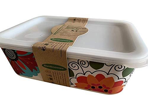 Boîte Alimentaire en Bambou ♻ 3 Boîtes de Conservation Alimentaire en Fibre de Bambou - Récipient hermétique, Écologique, Recyclable et Biodégradable - Va au Lave-Vaisselle - Bamboo Eco, Bio, sans BPA
