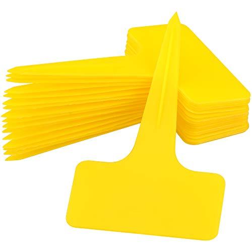 KINGLAKE 100 etiquetas de plástico para plantas amarillas gruesas, tipo T, resistentes al agua, 10 x 6 cm