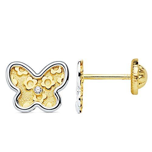 Iyé Biyé - Pendientes niña mujer mariposa motivos flores 8 x 7 mm oro bicolor 18 ktes cierre tornillo