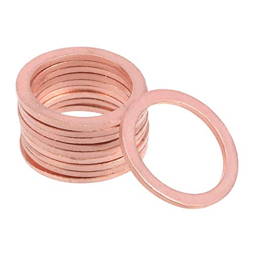 uxcell 10Pcs 20mm x 26mm x 1.5mm Copper Flat Washer for Screw Bolt