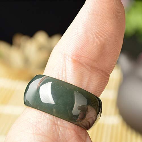YX Ice Natural Hetian Jade Finger Ring Anillos para Hombres,19mm