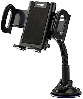Ipow 車載ホルダー ゲル吸盤式 スマホホルダー メダル製 iphone スマホ用 ワンタッチボタン ブラック