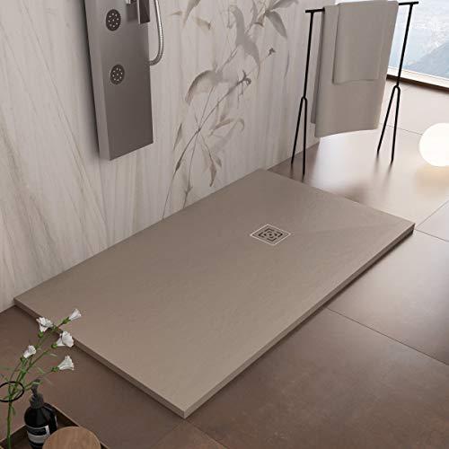 Essence ArredoBagno Plato de ducha de resina 200 x 80 cm – Efecto piedra antideslizante con Gelcoat – Modelo Rome Moka – Rejilla y desagüe incluidos