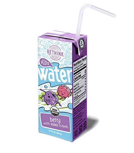 Rethink Kids Water Berry - Zero Sugar Kids Water -- Zero Calories & Zero Sugar, Certified Organic, BPA Free, Recyclable (Pack of 32)