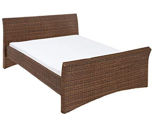 Loft24 Rattanbett 140x200 cm Bettgestell Bett Rattan Landhaus Doppelbett Bettrahmen Polyrattan Schlafzimmer (braun)