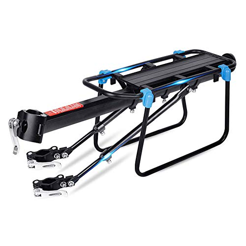 LAIABOR Bicycle Rear Rack Carrier Rack Holder Aluminum Alloy Adjustable Mountain Bicycle Back Seat Rack Holder with Reflector for Cycling Camping Touring Sport,Blue