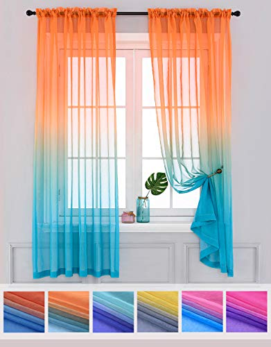 Yancorp Sheer Curtains 2 Panels Voile Ombre Drapes Reversible for Girls Living Room Bedroom Kitchen Window Home Decoration 63 72 84 96 inches Long White Pink Blue Purple (Orange Green, 40