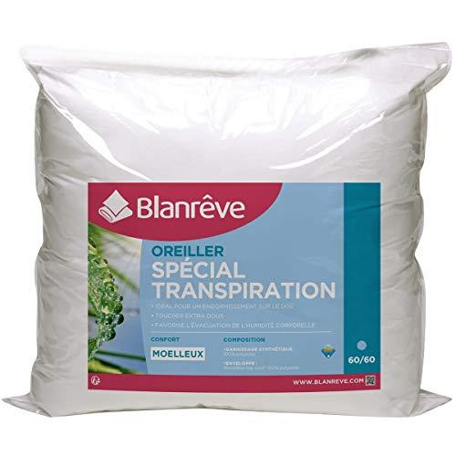 Blanreve Oreiller Moelleux spécial Transpiration en Microfibre 60x60cm (Lot de 2)