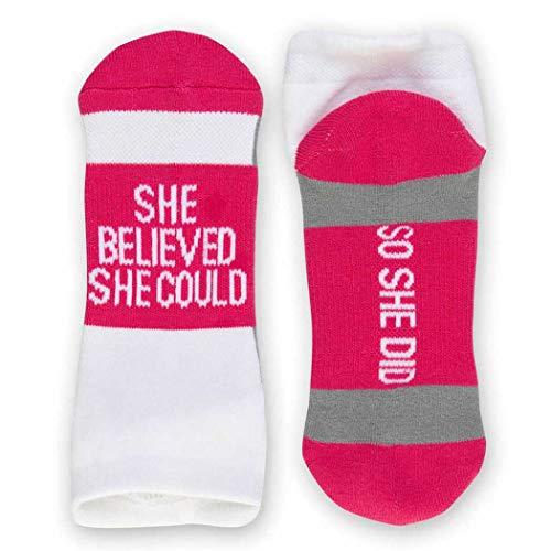 Inspirational Athletic Running Socks | Women's Woven Low Cut | She Believed | Fuchsia