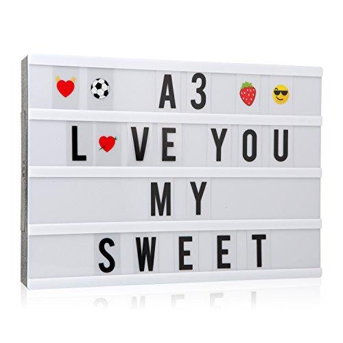 Caja de luz cinemática con 150 letras, números y emoticonos, tamaño A3, señal de cine con mensaje LED para decoración