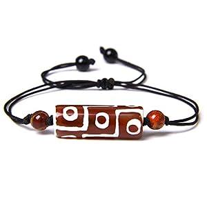 Gewebtes Armband,Schwarzes Seil Mit Natürlichem Rotem Dzi-Achat Geflochtenen Verstellbaren Charm-Armbändern Tibetischer Buddhismus-Schmuck Weinlese-Glückliches Freundschaftsgeschenk Für Paare M