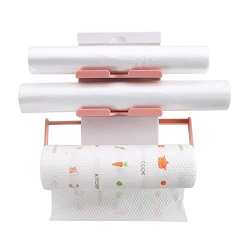 Toilettenpapierhalter Klopapierhalter Küchenhalter Racks Regale Kreative Küche Wand Racks Frischhaltefolie Sauce Flasche Rack Papier Handtuchhalter Küche Lagerung (Rosa) Badezimmer Dekoratio