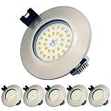 Foco Empotrable LED 7W 230V IP44 Salas de estar, Luces empotradas en el baño, Profundidad de instalación de 35mm Mini Slim, Punto de techo, Blanco Cálido 3000K (Set de 6)