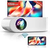 Proyector WiFi, YABER Mini Proyector Portátil 5500 Lúmenes 1080P Full HD[Pantalla de Proyector...