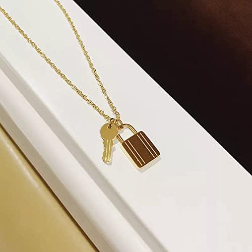 Moda Collar Joyas Gargantilla Joyería de mujer Acero inoxidable Francés Vintage Cerradura de llave Colgante doble Gargantilla de color dorado Collar para mujeres Hombres ChaNecklaces Parejas Regalos