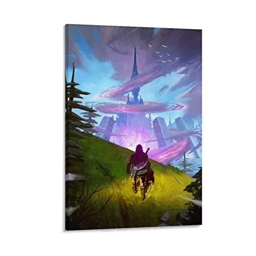 DRAGON VINES Leyenda de Zelda Link Shield Sword Go to Hailaru Castle Posters e impresiones sobre lienzo para decoración familiar de sala de estar (30 x 45 cm)