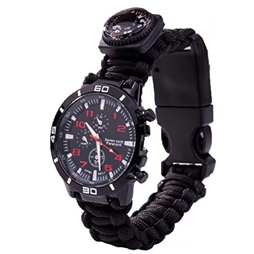 Olodui1 Wasserdichtes Survival-Armbanduhr, Webarmband, Camouflage, Outdoor Feuerstein, Messer, Outdoor Multi-Tool, Kompass, Pfeife