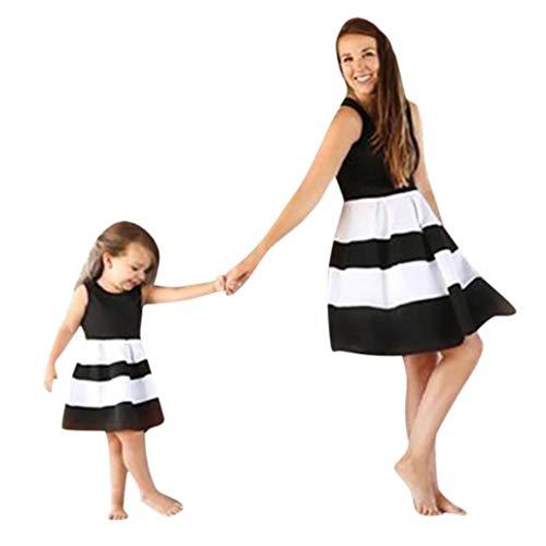 MCYs Mutter und Tochter Mommy & Me Kinder Baby Mädchen Gestreift Prinzessin Kleid Casual Familie Kleidung Beiläufig Ärmellos Minikleid Vintage (18M, Tochter Schwarz)